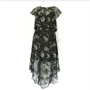 Parker Black and Gray Floral Dress Size Small